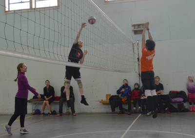 Faculty & students playing volleyball